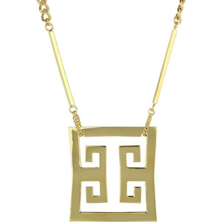 - Park and Luxe Gold-Tone Greek Key Frontal Statement Necklace, 27