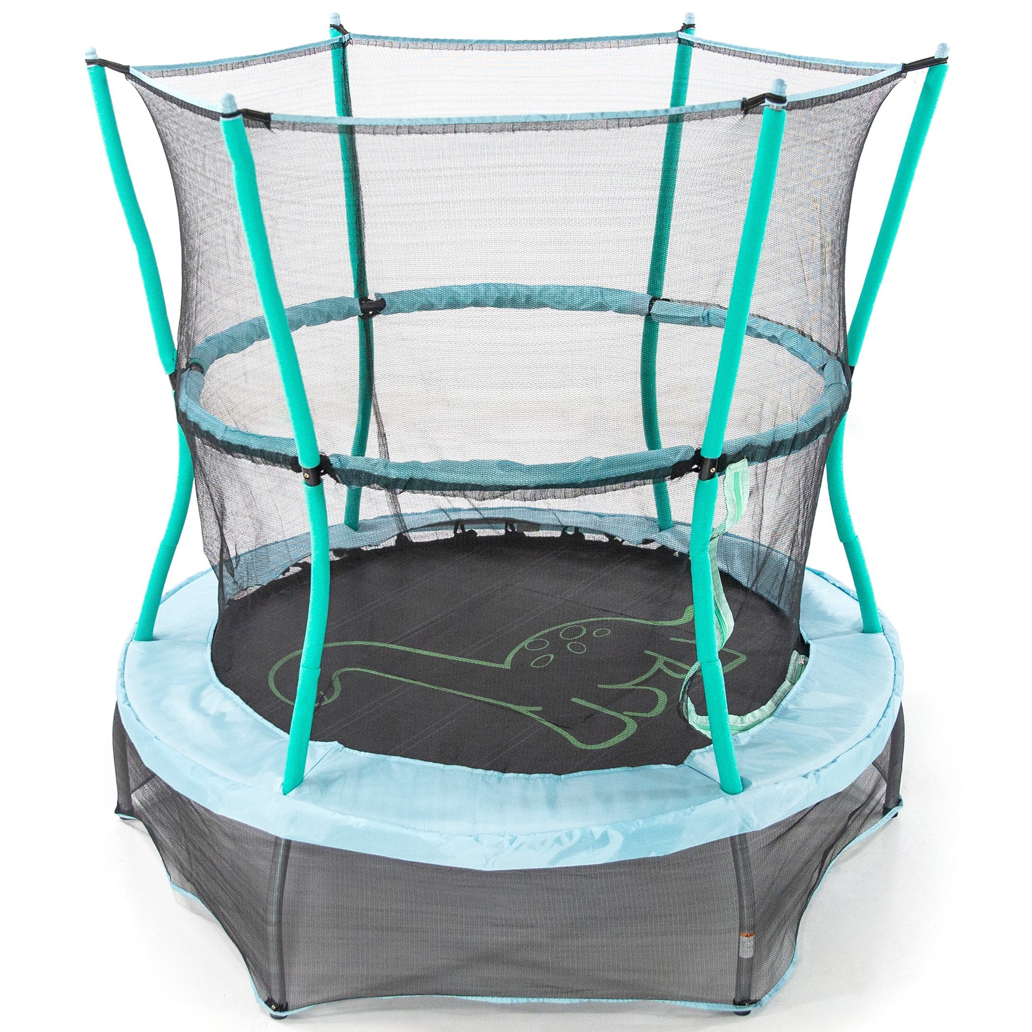 Skywalker Trampolines 55-Inch Bounce-N-Learn Trampoline, with Enclosure and Sound, Stomping Dinosaur