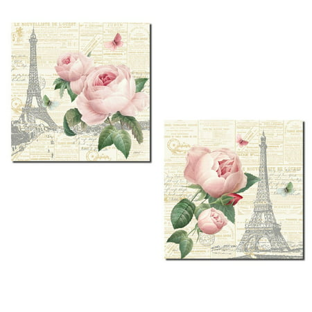Gorgeous Pink Paris Floral Rose, Butterfly and Eiffel Tower Prints by Katie Pertiet; Two 12x12in Paper Posters. (Pink Eiffel Tower)
