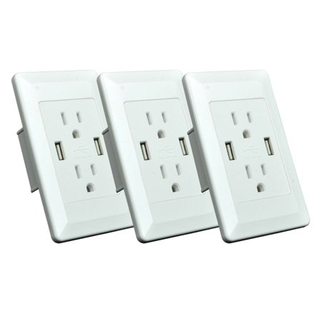 GREENCYCLE 3PK 2A 5V Dual USB Port Electric Wall Charger AC Power Outlet Panel Plate Dock Station Socket Duplex Receptacle White ()