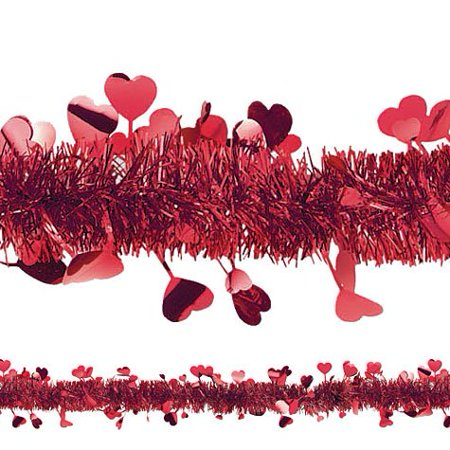 Valentines Day Decoration (Amscan Valentine Day Tinsel & Foil Hearts Garland Hanging Decoration 1)