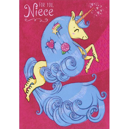 Designer Greetings Unicorn with Blue Mane: Niece Juvenile Valentine's Day Card - Unicorn Valentine