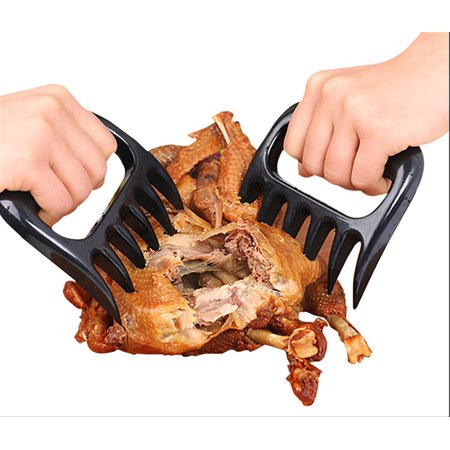 YXwin Meat Claws Shredder Bear Claws Kitchen Utensil Ergonomic Handle BPA-Free for Shredding Pork Brisket Shoulder Butt Chicken Turkey Beef Ham (Black, 1 Pair)