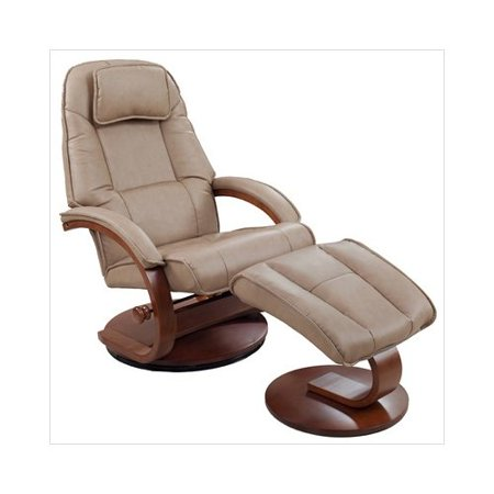 Mac Motion Comfort Chair Swivel Recliner With Ottoman In Cobbleston Bonded Le
