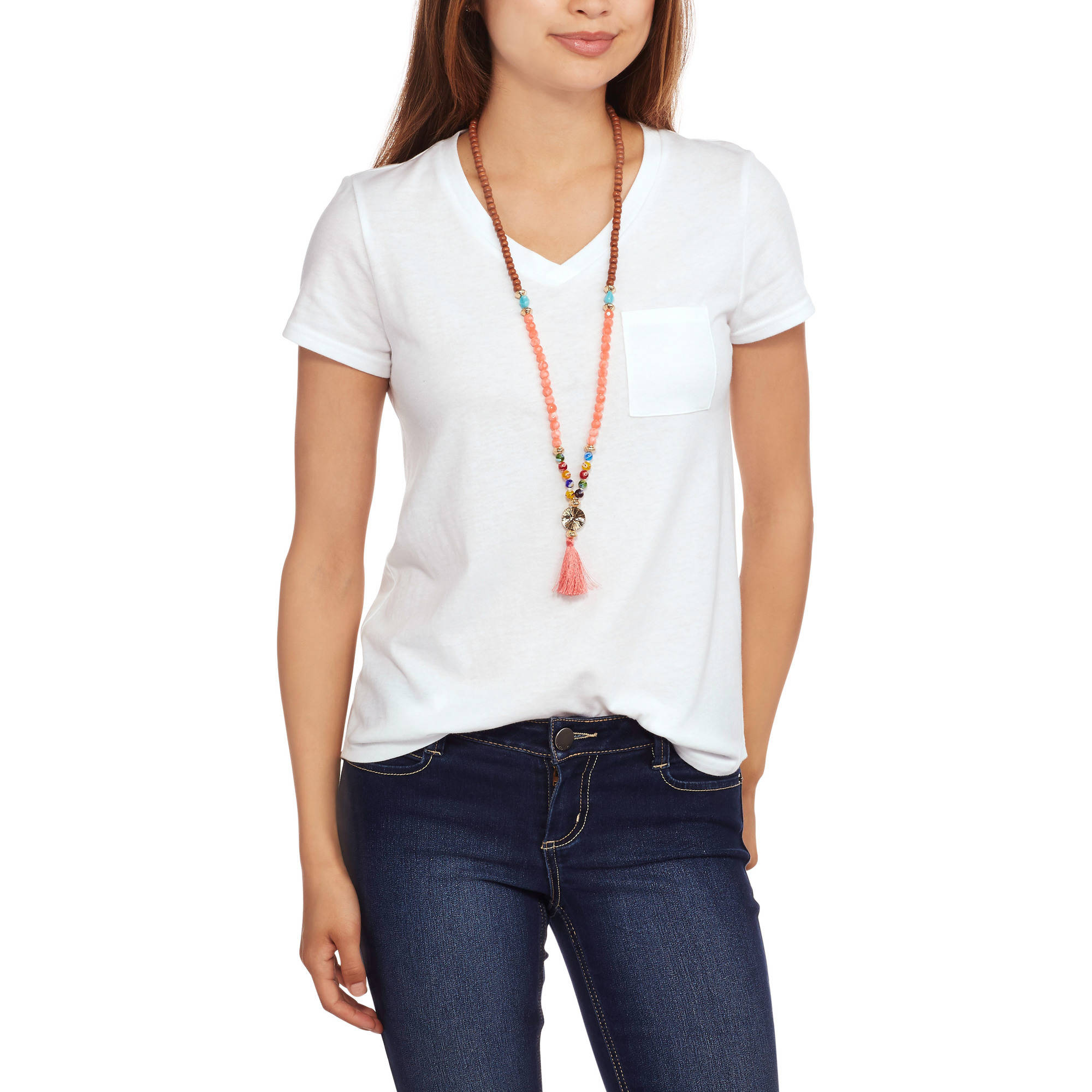 No Boundaries Juniors' V Neck Burnwash Pocket Tee