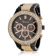 Geneva Stainless Steel Back Rose Gold Plated Boyfriend Watch