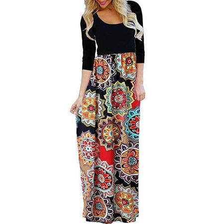 Women's Ethnic Style Floral Print Tank Dress Geometric Party 3/4 Sleeve Long Maxi Dresses