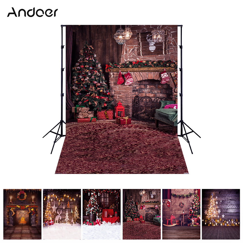 Andoer 1.5*2 meters / 5*7 feet Christmas Holiday Theme Background Photo Studio Props Foldable Polyester Fibre Photography Backdrop for Newborn Portrait Christams Party Photography 6 Models for Option