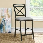 Dorel Living Devon Crossback Counter Height Dining Chair, Black / Gray