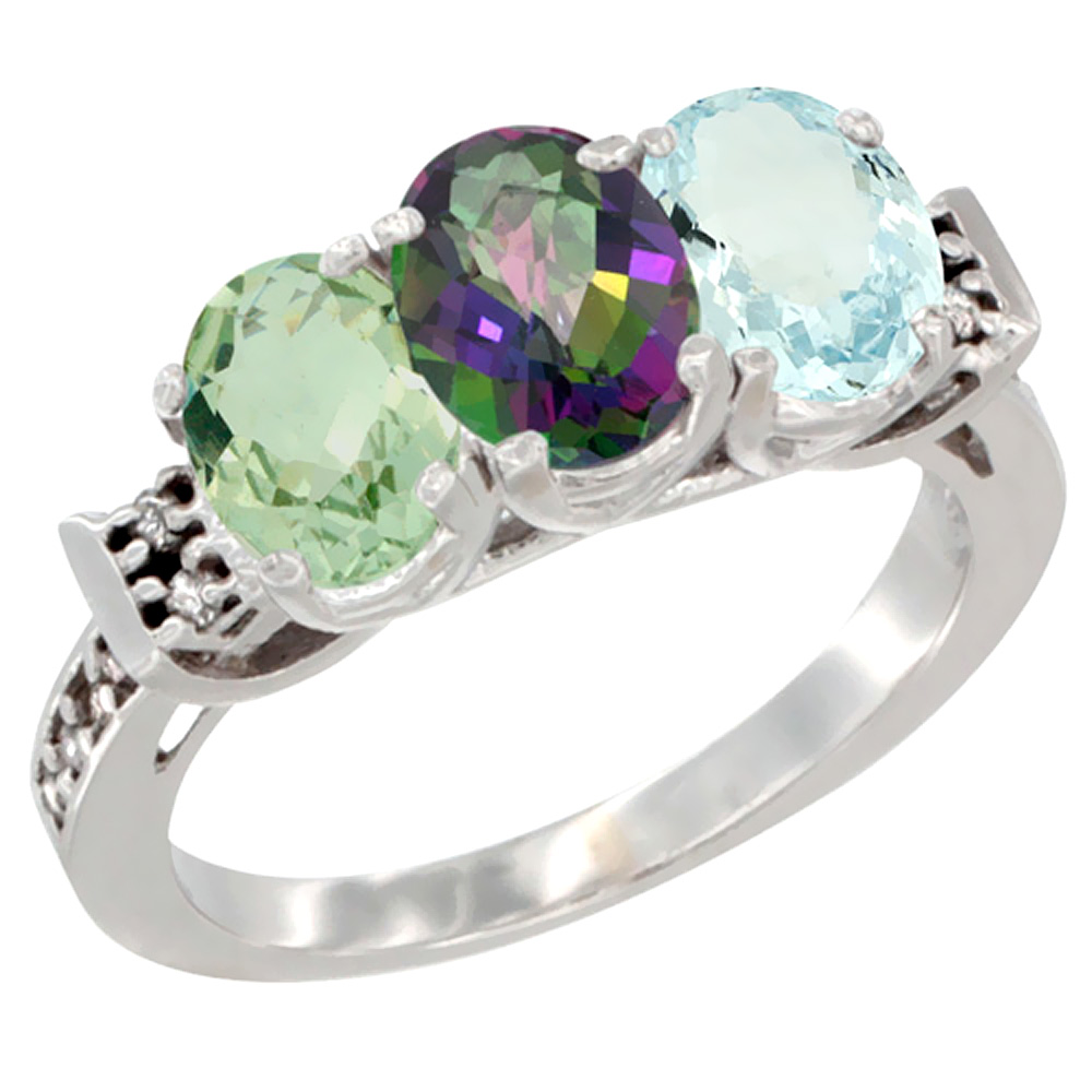 10K White Gold Natural Green Amethyst, Mystic Topaz & Aquamarine Ring 3-Stone Oval 7x5 mm Diamond Accent, sizes 5 10 by WorldJewels