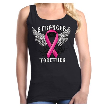 Shop4Ever Women's Stronger Together Breast Cancer Awareness Graphic Tank Top