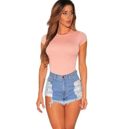62dbd47db49e Fashion Women Summer Ripped High Waisted Denim Shorts Jeans Hot ...
