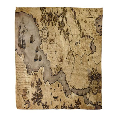 ASHLEIGH Flannel Throw Blanket Land Old Vintage Fantasy Map Medieval Treasure Ancient Antique Atlas 58x80 Inch Lightweight Cozy Plush Fluffy Warm Fuzzy Soft ()