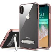 Apple iPhone Xs Max (6.5 inch) Phone Case Shockproof Hybrid Bumper Rubber Silicone Cover Transparent Clear Magnetic Metal Kick Stand Rose Gold Case for Apple iPhone Xs Max