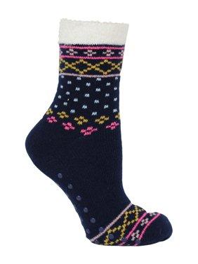 Steve Madden Ladies Fairisle cozy cabin crew sock with nonskid sole