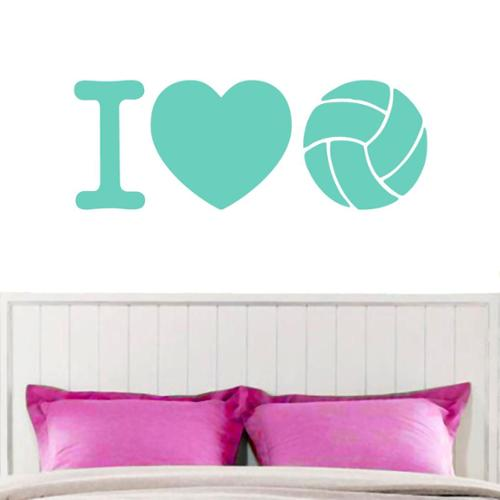 I Love Volleyball Wall Decal 60-inch x 22-inch WHITE
