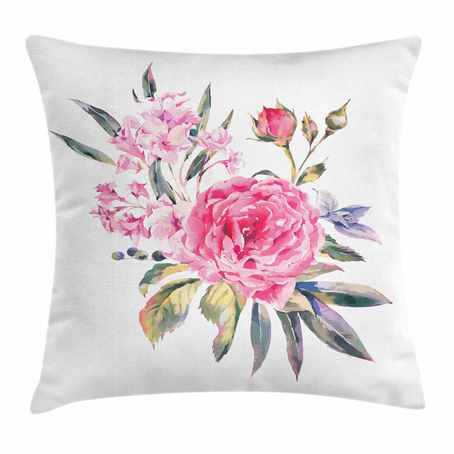 Floral Throw Pillow Cushion Cover Romantic Watercolor Bouquet With Buds Of Roses And Wildflowers Vintage Botany Theme Decorative Square Accent Pillow Case 24 X 24 Inches Multicolor By Ambesonne Walmart Com Walmart Com