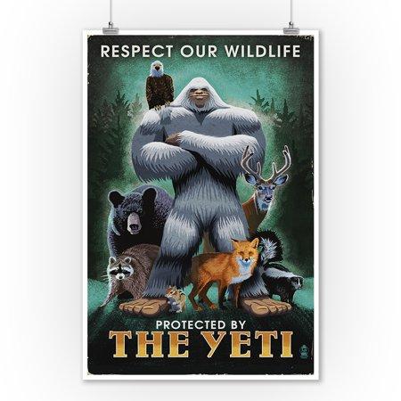 The Yeti & Wildlife - Lantern Press Artwork (9x12 Art Print, Wall Decor Travel Poster)