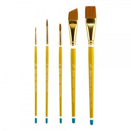 Qualita Golden Taklon Brush Short Handle Value Set of - Qualita Short