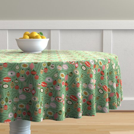 Image of Round Tablecloth Ornament Vintage Christmas Christmas Cotton Sateen