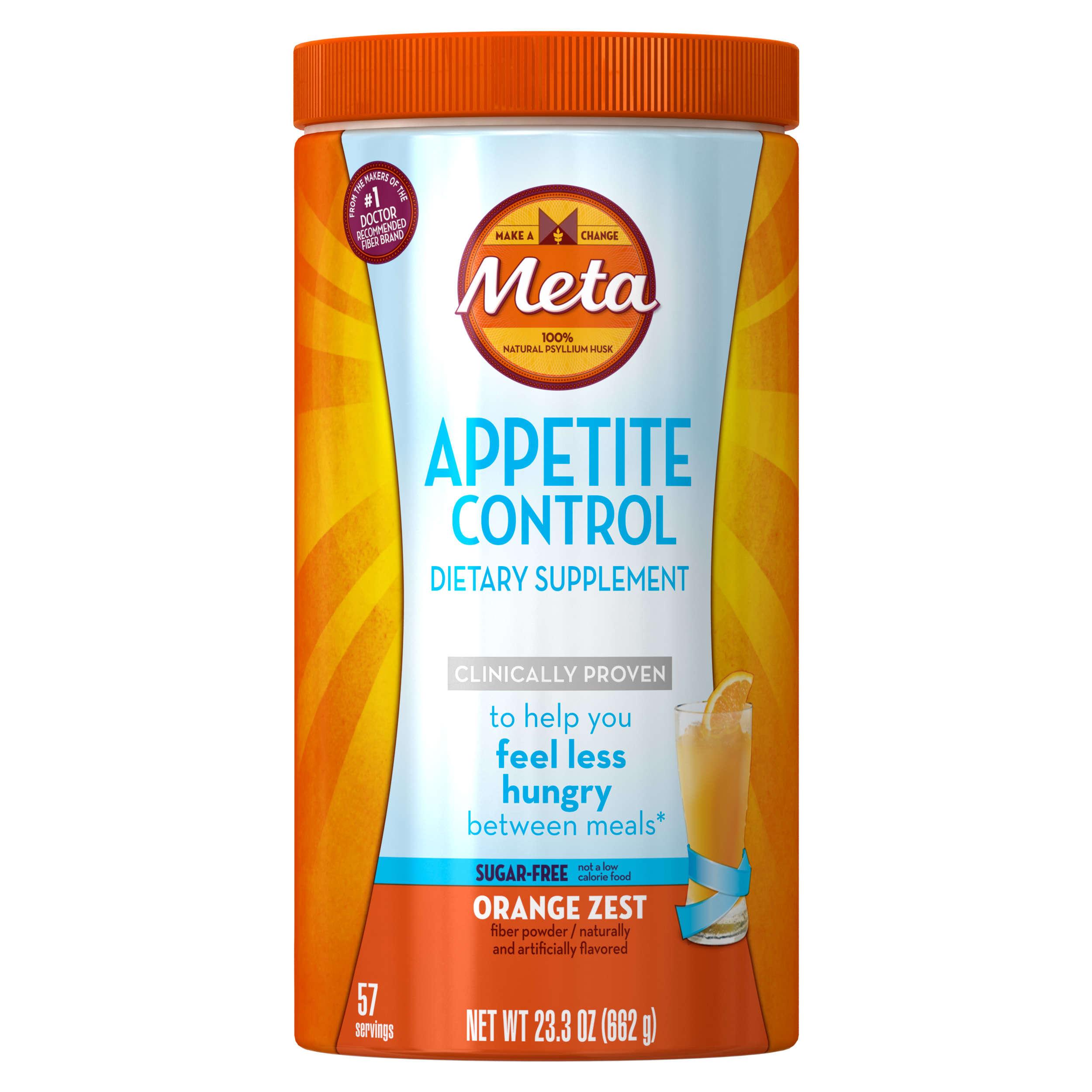 Metamucil Daily Appetite Control Weight Loss Supplements, Orange Zest Sugar Free Fiber Appetite Suppressant, 57 Doses