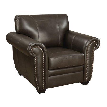 Louis Collection Traditional Upholstered Leather Arm Chair with Antique Brass Nail Head Trim, Brown - Limited Collection Leather