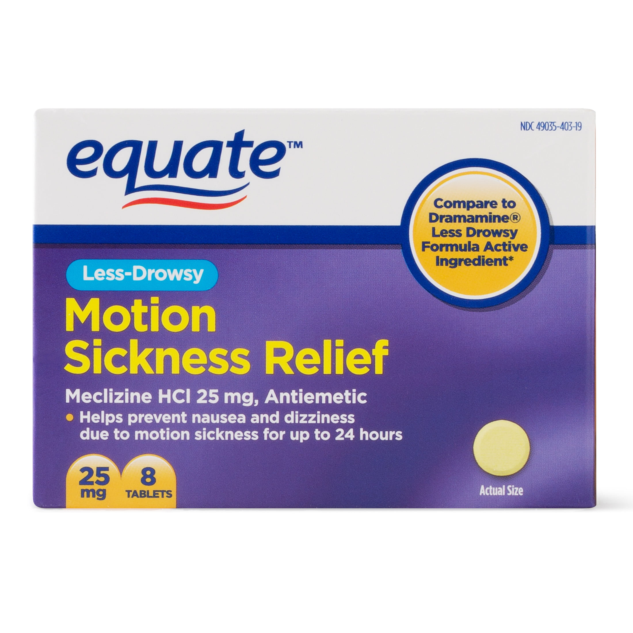 equate less-drowsy motion sickness relief meclizine tablets, 25 mg