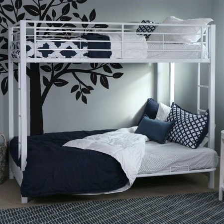 Walker Edison Twin Over Futon Metal Bunk Bed, White (Box 1)