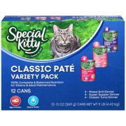 Special Kitty Classic Pate Variety Pack Wet Cat Food, 13 Oz, 12 Ct