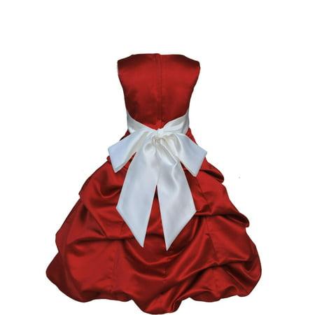 Ekidsbridal Apple Red Satin Bubble Pickup Christmas Party Bridesmaid Recital Easter Holiday Wedding Pageant Communion Princess Birthday Clothing Baptism 806 Flower Girl Dress (Halloween Aps)