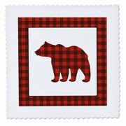 3dRose Buffalo Plaid Bear - Quilt Square, 6 by 6-inch