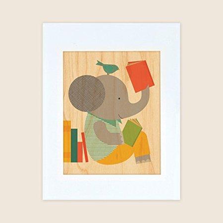 Petit Collage Unframed Print on Wood Wall Decor, Read Elephant ...