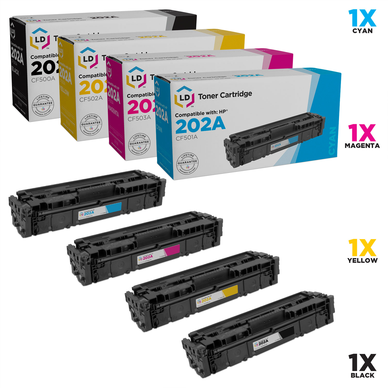 LD Compatible Replacements for HP 202A Set of 4 Toner Cartridges: CF500A Black, CF501A Cyan, CF503A Magenta & CF502A Yellow for use in Color LaserJet M254dw & M281dw