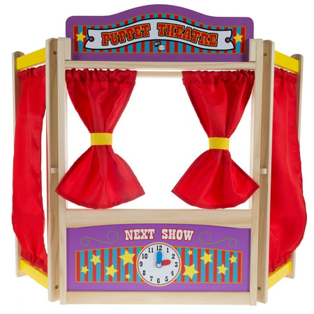 Wooden Tabletop Puppet Theater with Curtains, Blackboard, and Clock- Inspires Imagination and Creativity for Kids, Boys and Girls By Hey!