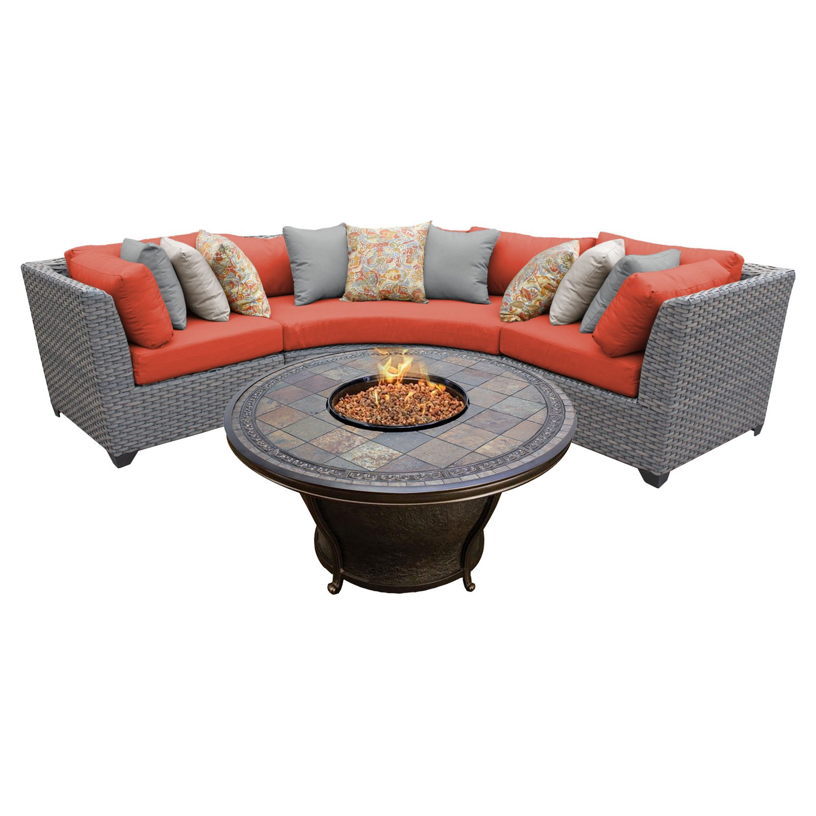 TK Classics Florence Wicker 4 Piece Patio Conversation Set with 2 Sets of Cushion Covers