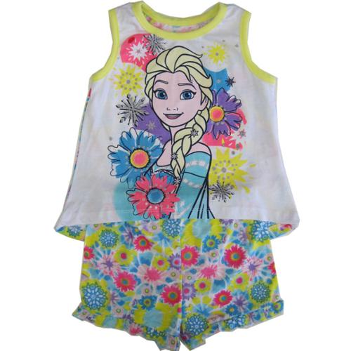 Disney Little Girls Yellow Elsa Floral Print Tank Top 2 Pc Shorts Set 3T