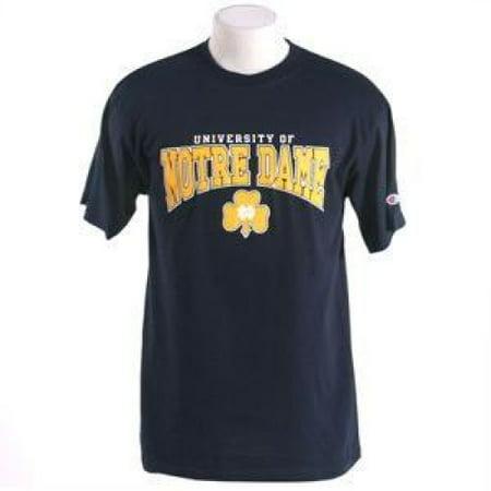 Notre Dame Fighting Irish T-shirt - U Of Over Notre Dame Fighting Irish Over Shamrock - By - Navy - Shamrock Skirt