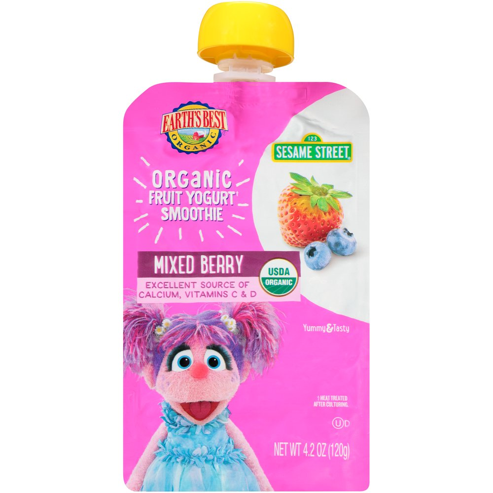 Earth's Best Organic Sesame Street, Mixed Berry Toddler Fruit Yogurt Smoothie, 4.2 oz. Pouch