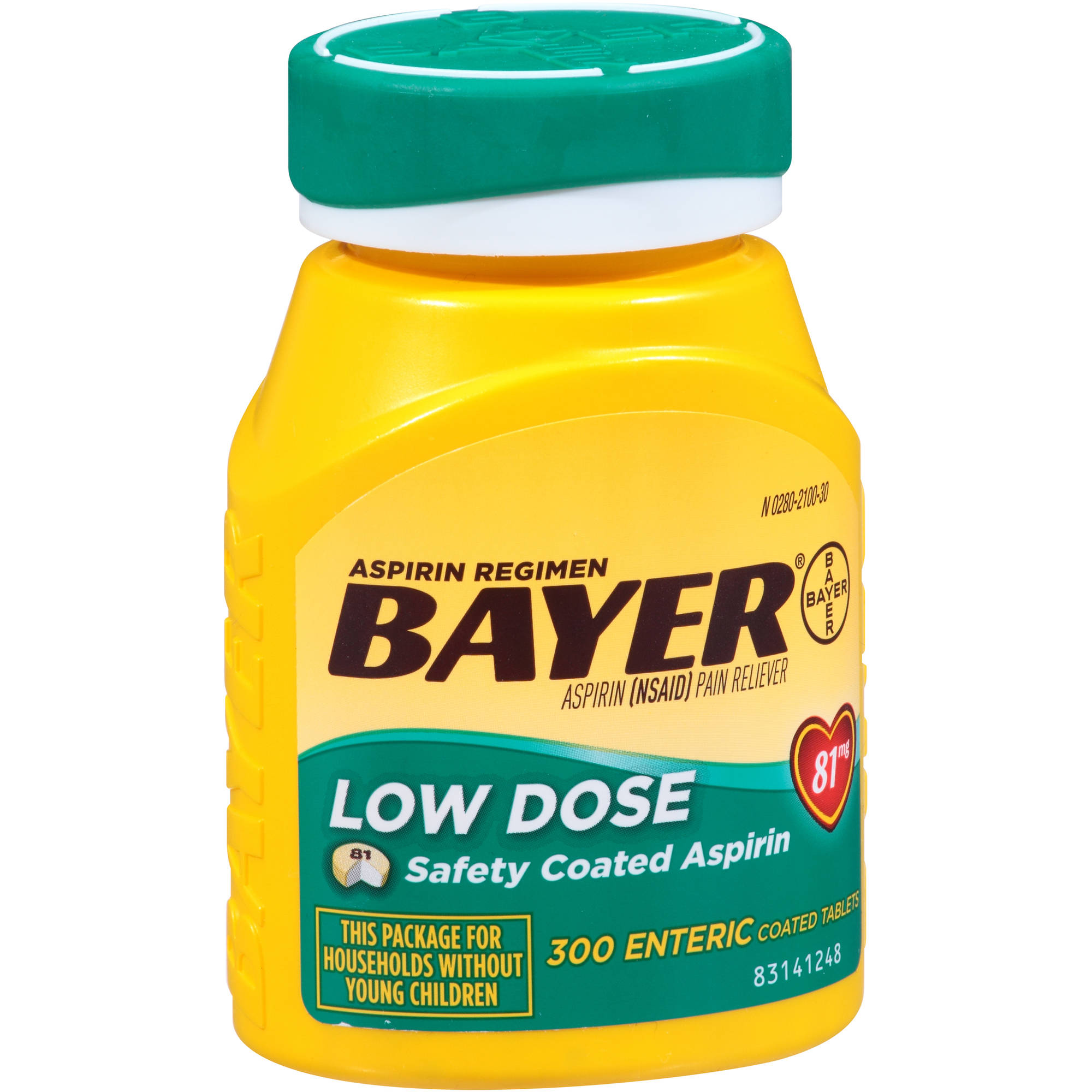 Bayer Low Dose Aspirin Enteric Coated Tablets, 81mg, 300 count