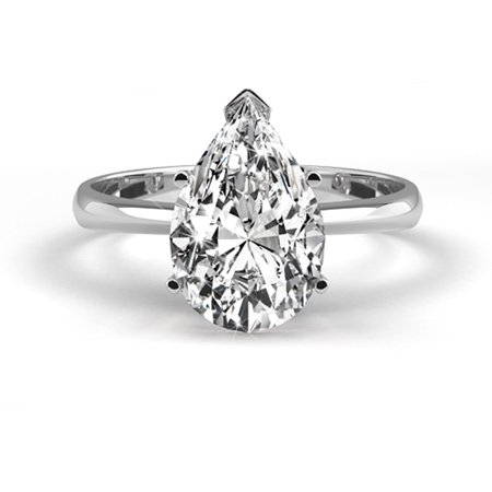 Platinum Diamond Ring Natural Certified 1.07 Carat Weight Pear Shaped G