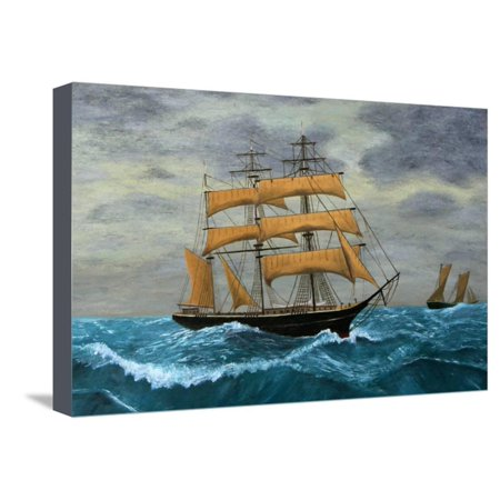 Original Artwork, Clipper Ships at Sea, Oil Painting on Board Stretched Canvas Print Wall Art By TerraceStudio Painted Original Artwork