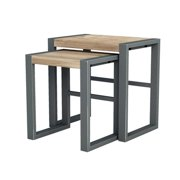 Asta Industrial Modern Teak & Iron Nesting Tables, Set of 2