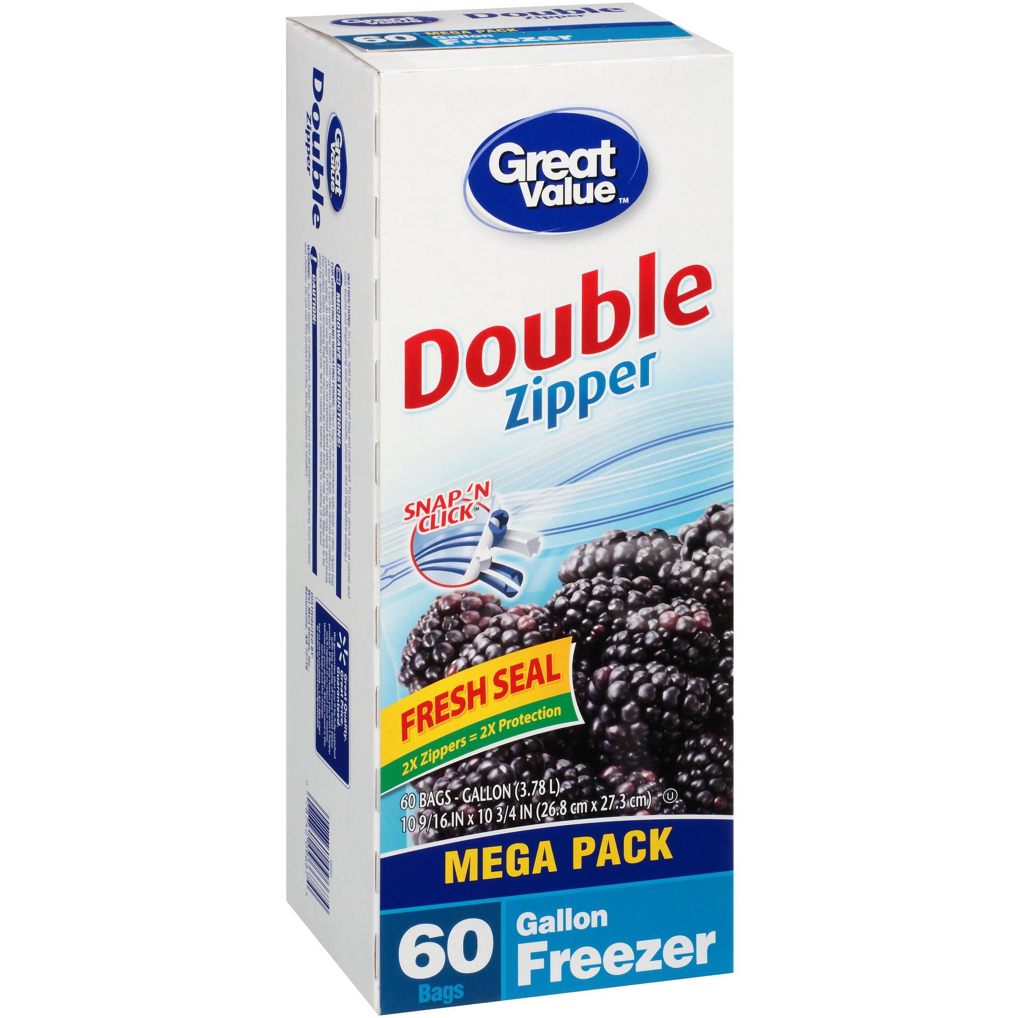Great Value Double Zipper Gallon Size Freezer Storage Bags, 60 count
