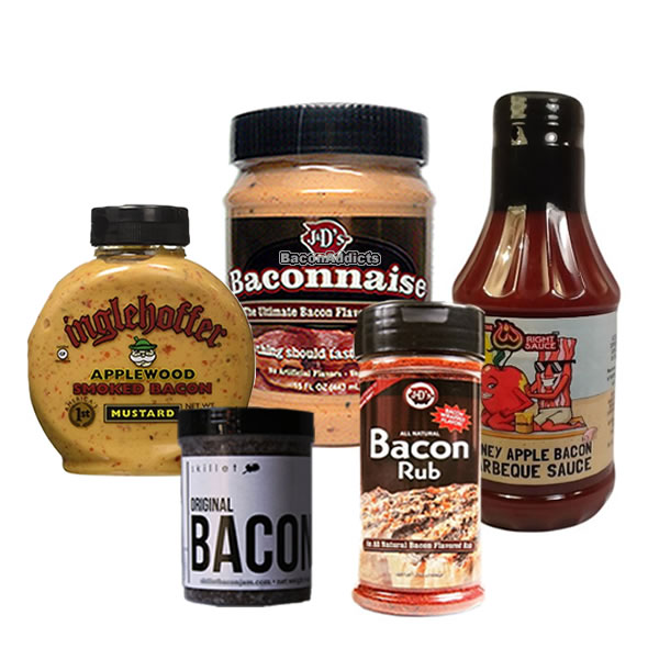 Bacon Burger BBQ Barbeque Sampler Pack (5pc Gift Set) Baconnaise Bacon Mayo, Bacon Jam,... by