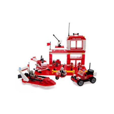 Best Lock Construction Toys Fire Station 450 Piece