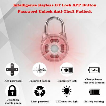Intelligence Keyless BT Lock APP Button Password Unlock Anti-Theft Padlock Door Luggage Case Locker Lock for Android IOS System - image 1 de 7