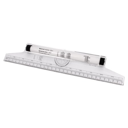 Students Multi-purpose 30cm Measuring Protractor Template Drawing Rolling Rule