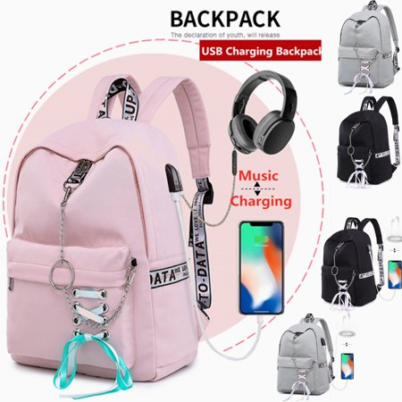 2019 Women Waterproof Backpack Girl School Shoulder Bag USB Port