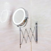 6'' 3X 360° Adjustable Magnifying LED Mirror w/ a Touch Button, Wall Mount 2 Side Makeup Beauty Mirror with Light