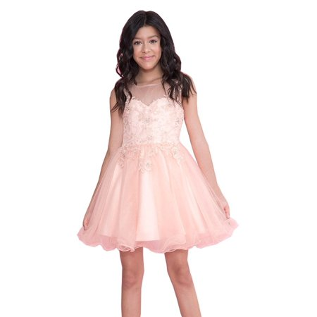Calla Collection Girls Blush Lace Illusion Short Party Tween Dress](Tween Dresses Size 14)